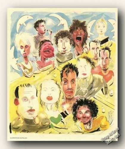 Pop Music Stars (13) Caricatures By Ian Pollock (1986)