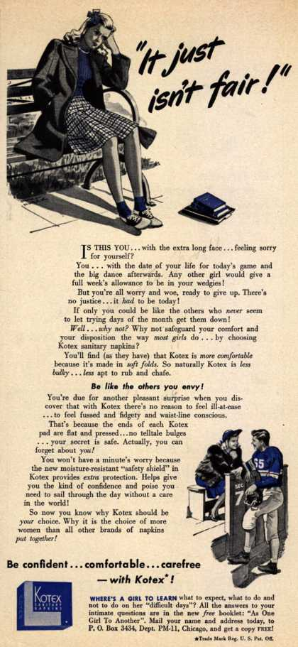 "Kotex Company's Sanitary Napkins – ""It just isn't fair!"" (1941)"