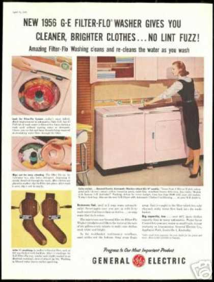 G.E General Electric Pink Washer Dryer Photo (1956)