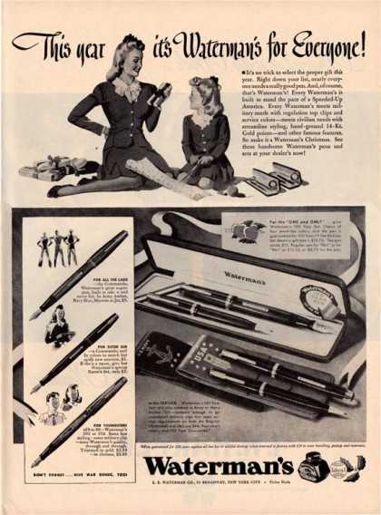 Watermans Wwii Serviceman Pen Us Navy Army (1942)