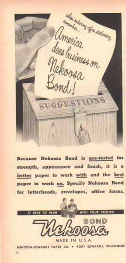 Nekoosa Bond Paper – It pays to plan with your printer (1952)