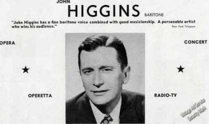 John Higgins Photo Baritone Opera (1955)