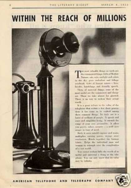 "Bell Telephone System Ad ""Within the Reach... (1933)"