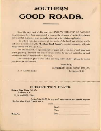 Southern Good Roads Pub. Co.'s Southern Good Roads, a monthly magazine – Southern Good Roads (1909)