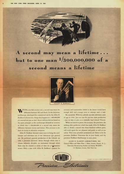 Allen B. DuMont Laboratorie's Radio – A second may mean a lifetime... but to one man 1/300,000,000 of a second means a lifetime (1943)