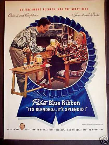 Pabst Blue Ribbon Beer Young Couple (1946)