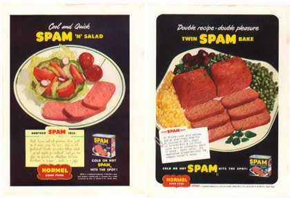 SPAM Hormel Ads – Spam n Salad & Twin Spam Bake (1949)