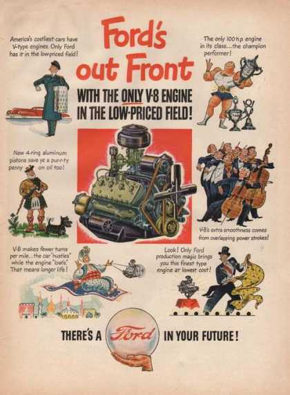 Fords Out Front Only V8 Engine (1946)