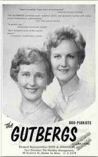 The Gutbergs Photo Duo-pianists Rare Booking (1963)