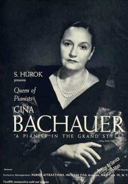 Gina Bachauer Pianist In the Grand Style Trade (1963)