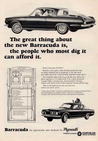 Plymouth Barracuda Cuda $2500 Print (1964)