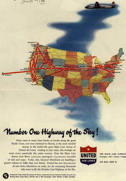 United Air Line's Main Line Airway – Number One Highway of the Sky (1946)