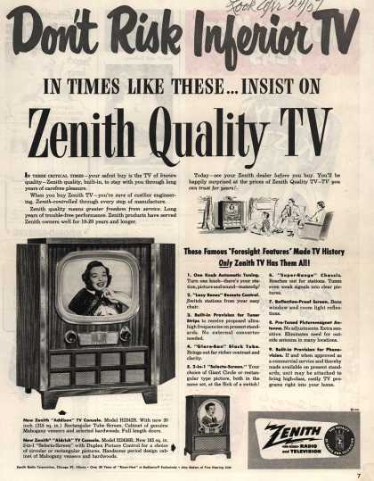 Zenith Radio and Television's Addison and Aldich TV consoles – Don't Risk Inferior TV (1951)