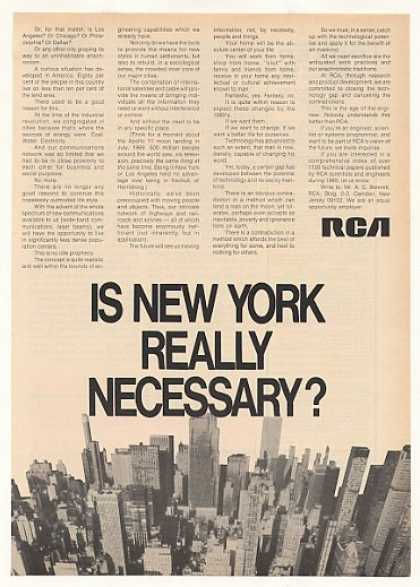 Is New York Really Necessary RCA Engineer Jobs (1970)