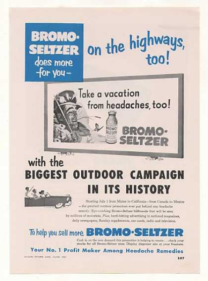 Bromo-Seltzer Vacation from Headaches Billboard (1952)