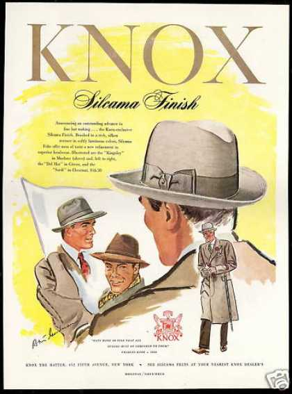 Knox Mens Silcama Finish Hat Print Art (1948)