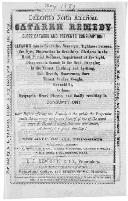 Demeritt's North American catarrh remedy cures catarrh and prevents consumption! ... Boston 1869. (1869)