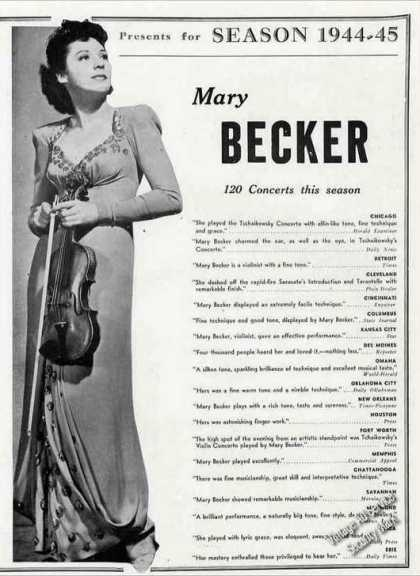Mary Becker Full Photo Violinist Trade (1944)