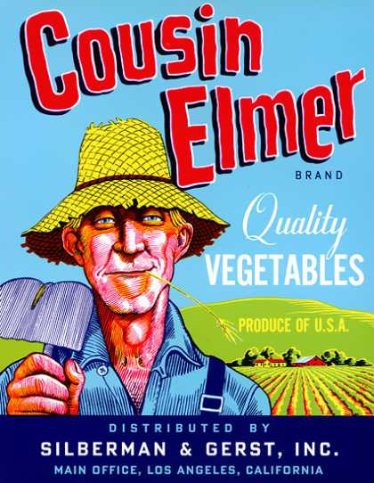 Cousin Elmer Brand Vegetables, c. 			s (1940)