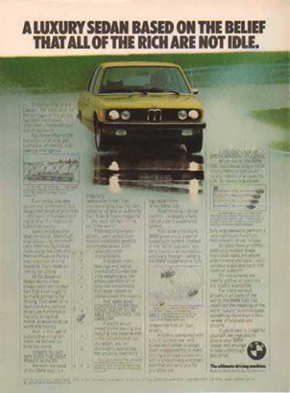 BMW 530i Car – Yellow – The ultimate driving machine (1976)