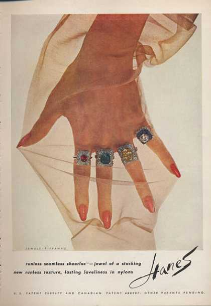 Hanes Seemless Sheer Stocking Hose Tiffany Ring (1962)