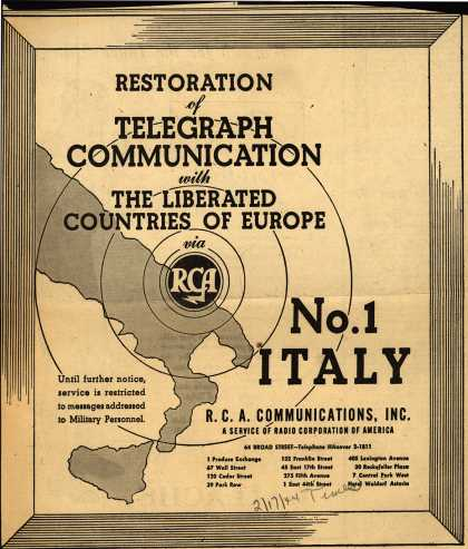 R.C.A. Communication's Telegraph service – Restoration of Telegraph Communication with The Liberated Countries of Europe via RCA (1944)