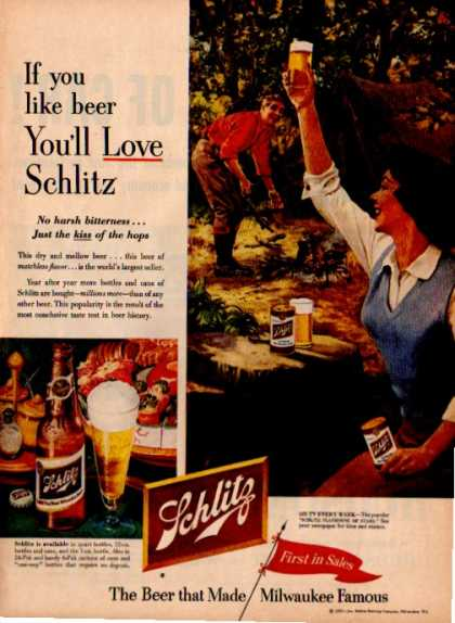 Schlitz Beer Camping Camp Fire Tent Outdoors (1953)