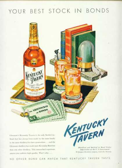 Kentucky Tavern Bourbon Whiskey C Ad Stocks Motiff (1950)