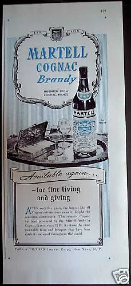 France Martell Cognac Brandy (1946)