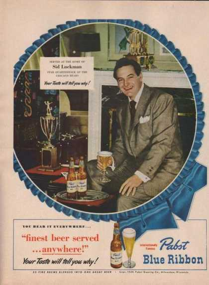 Sid Luckman Pabst Blue Ribbon Beer (1949)