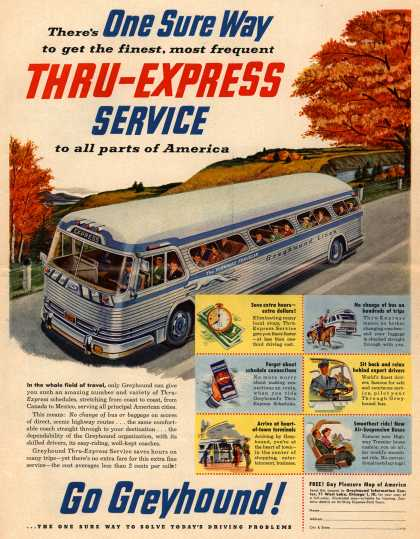 Greyhound's Thru-Express Service – There's One Sure Way to get the finest, most frequent Thru-Express Service to all parts of America (1953)