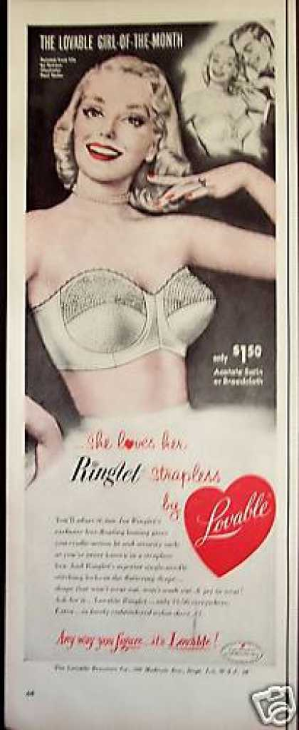 Lovable Ringlet Strapless Bra Art By Paul Rader (1952)