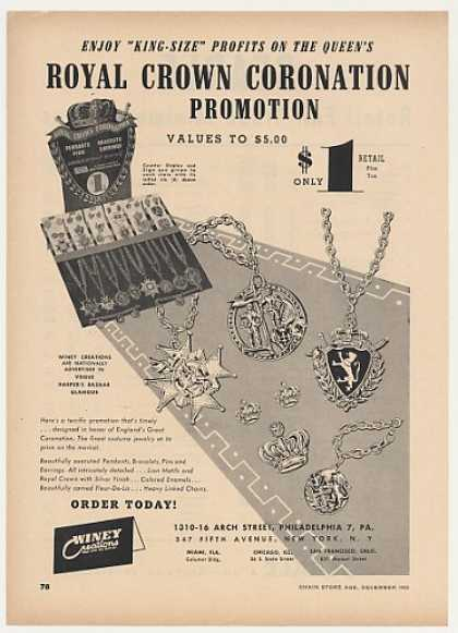 Winey Creations Royal Crown Coronation Jewelry (1952)