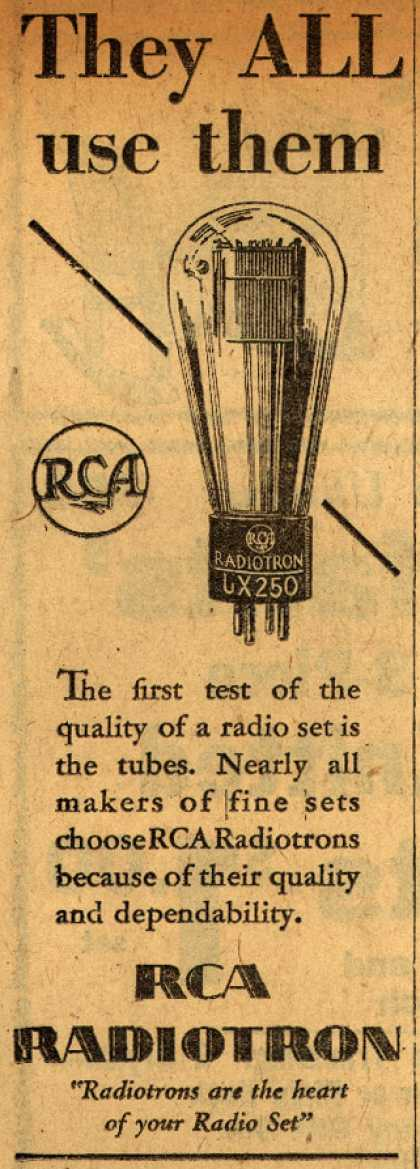 Radio Corporation of America's Radio Tubes – They All Use Them (1929)