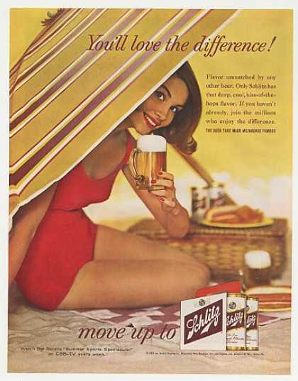 Schlitz Beer Girl Bathing Suit Beach Photo (1961)