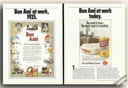 Bon Ami at Work 2 Page Ad 1925 & Today (1978)