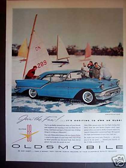 Ice Sailing Oldsmobile 88 Holiday Coupe Car (1957)