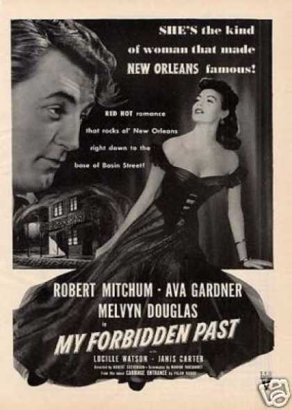 "Movie Ad ""My Forbidden Past"" Robert Mitchum (1951)"