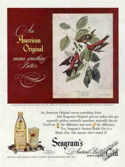 Seagram's Gin Ad With Audubon Bird Art (1948)