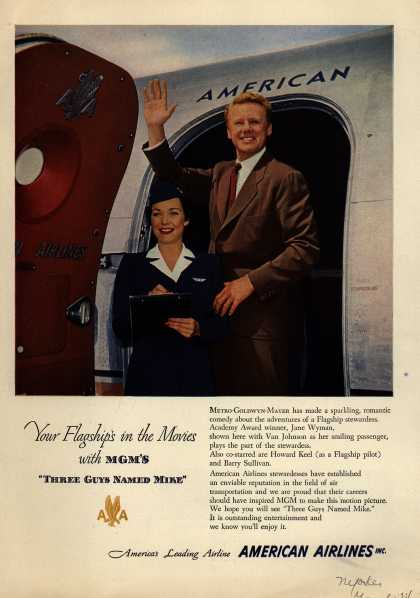 "American Airline's Flagship – Your Flagship's in the Movies with MGM'S ""THREE GUYS NAMED MIKE"" (1951)"