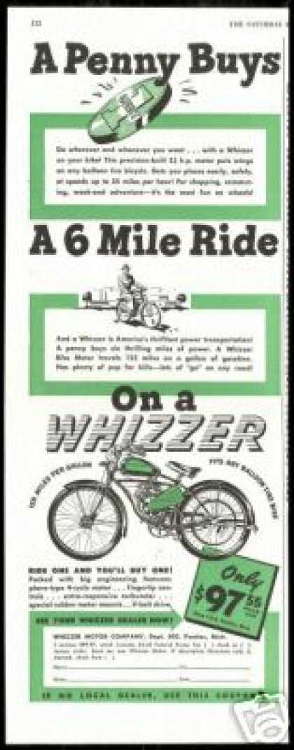Whizzer Motor Bike Bicycle Vintage (1947)