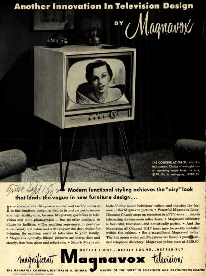 Magnavox Company's Television – Another Innovation in Television Design by Magnavox (1952)