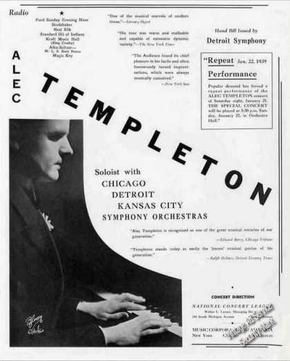 Alec Templeton Photo Pianist Booking (1939)