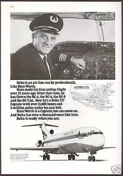 Delta Airlines Pilot Photo Russ Worth (1974)