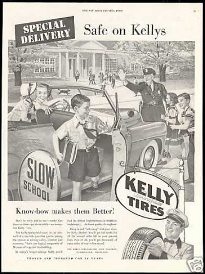 Kelly Tires School Convertible Policeman Art (1950)