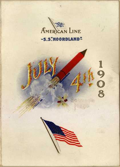 American Line&#8217;s Souvenir Menu &#8211; American Line S.S. Noordland (1908)