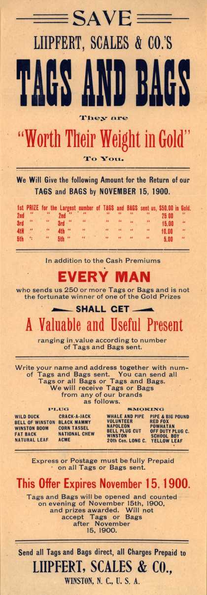 Liipfert, Scales & Co. – Save Liipfert, Scales & Co.'s Tags And Bags. (1900)