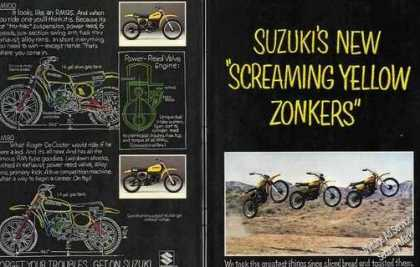 Suzuki's New Screaming Yellow Zonkers Cycle (1977)