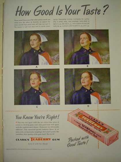 Clark's Teaberry Gum Packed with good taste (1947)