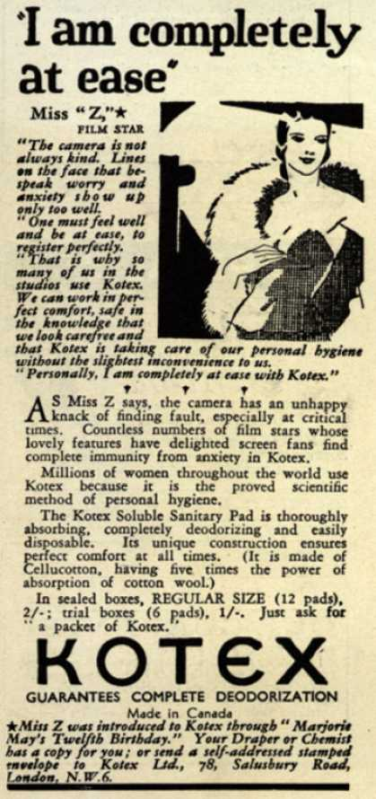 Kotex Company's Sanitary Napkins – I am completely at ease (1931)